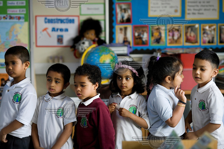 Pupils at the Krishna-Avanti primary school in Harrow, North London, the first state-funded Hindu faith school in Britain..