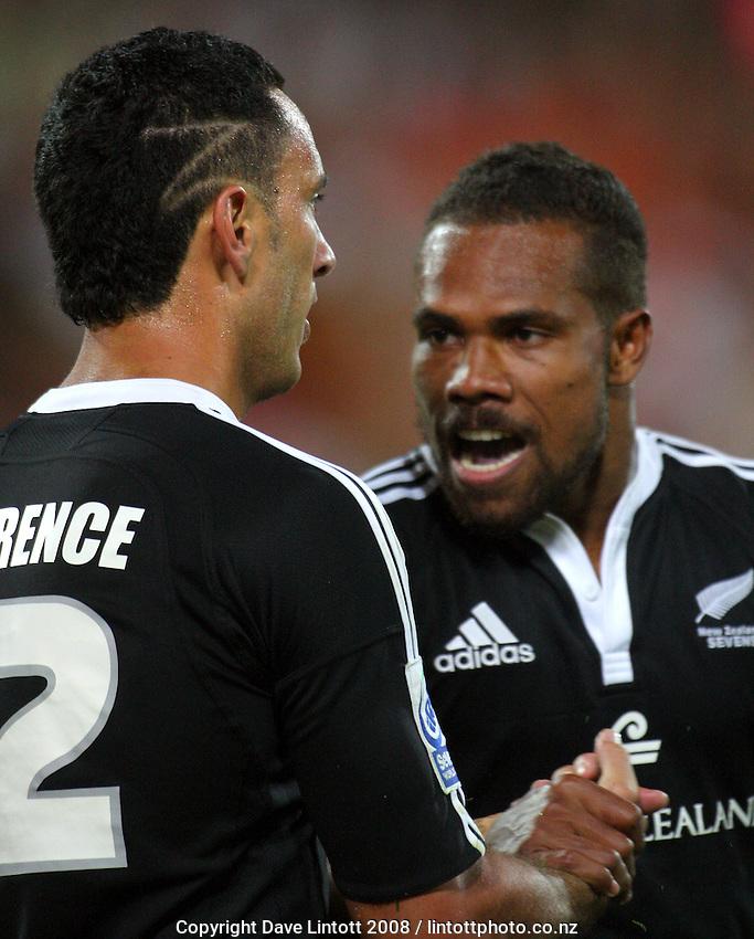 Lote Raikabula congratulates Zar Lawrence on his try. NZ V Samoa. NZI Wellington Sevens final. Westpac Stadium, Wellington. 2 February 2008. Photo: Dave Lintott / lintottphoto.co.nz