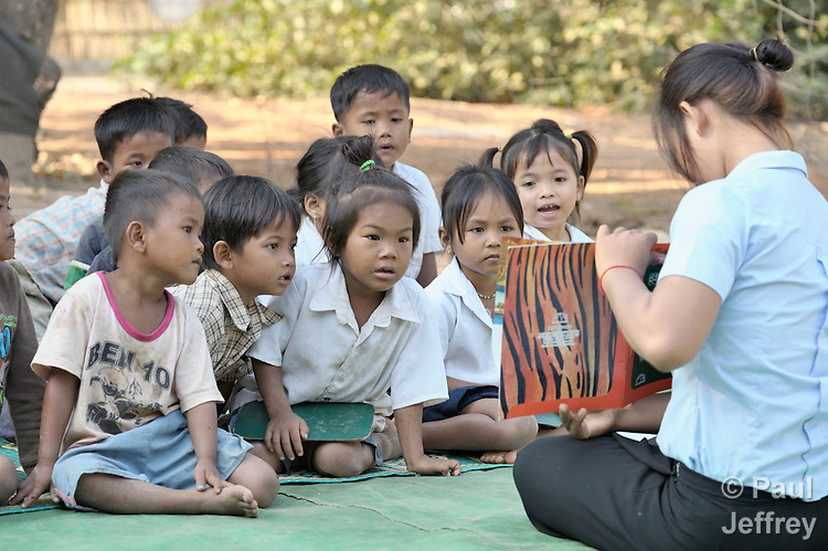 A preschool sponsored by the Cambodian Children's Advocacy Foundation in Khnach, a village in the Kampot region of Cambodia.
