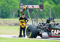 Apr. 29, 2012; Baytown, TX, USA: NHRA crew member for top fuel dragster driver Steve Torrence during the Spring Nationals at Royal Purple Raceway. Mandatory Credit: Mark J. Rebilas-
