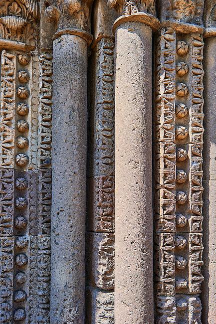 Detail of pillars of the  side portal of the Basilica Church of Santa Maria Maggiore, Tuscania