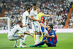 Carlos Henrique Casemiro and Daniel Carvajal competes for the ball with Luis Suarez of FC Barcelona during the match of La Liga between Real Madrid and Futbol Club Barcelona at Santiago Bernabeu Stadium  in Madrid, Spain. April 23, 2017. (ALTERPHOTOS)