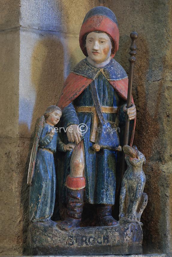 France, Haute-Vienne (87), Saint-Junien, la collégiale Saint-Junien, statue de Saint Roch // France, Haute Vienne, Saint-Junien, collegiate church Saint Junien, Saint Roch