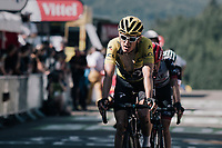 yellow jersey / GC leader Geraint Thomas (GBR/SKY) rolling in<br /> <br /> 104th Tour de France 2017<br /> Stage 5 - Vittel &rsaquo; La Planche des Belles Filles (160km)