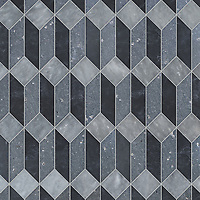 Madison, a hand-cut stone mosaic, shown in polished Allure, honed Orpheus Black, and honed Basalto, is part of the Semplice™ collection for New Ravenna.