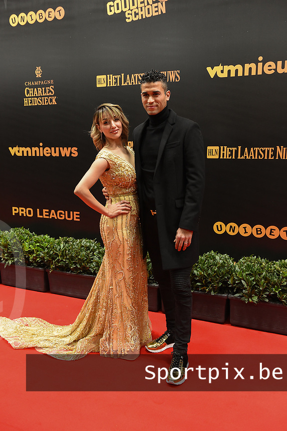 20190116 – PUURS ,  BELGIUM : Hamdi Harbaoui (R) pictured during the  65nd men edition of the Golden Shoe award ceremony and 3th Women's edition, Wednesday 16 January 2019, in Puurs Studio 100 Pop Up Studio. The Golden Shoe (Gouden Schoen / Soulier d'Or) is an award for the best soccer player of the Belgian Jupiler Pro League championship during the year 2018. The female edition is the thirth one in Belgium.  PHOTO DIRK VUYLSTEKE | Sportpix.be