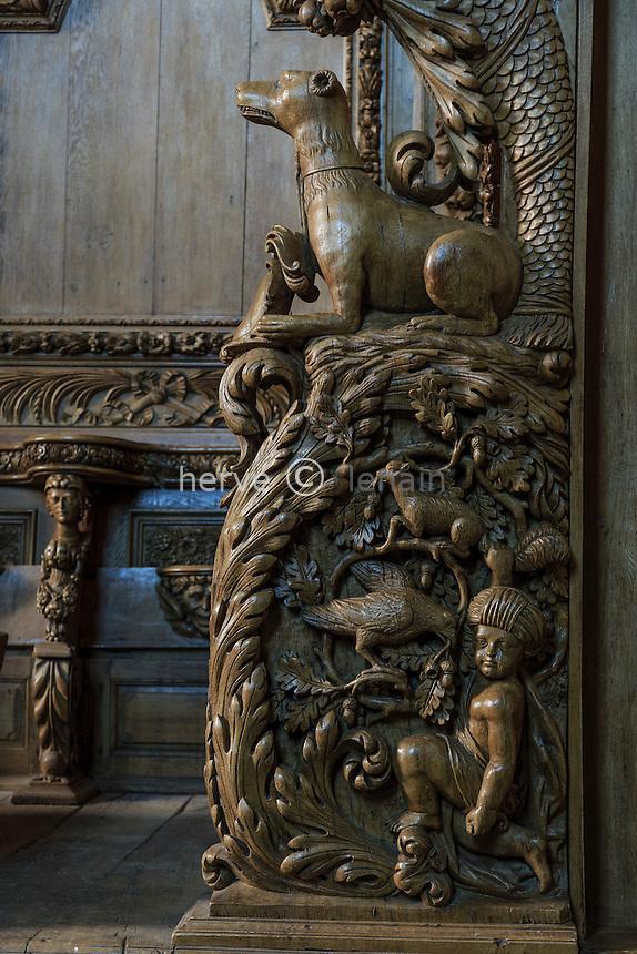 France, Creuse (23), Moutier-d'Ahun, abbaye de Moutier-d'Ahun, les boiseries sculptées dans l'église // France, Creuse, Moutier-d'Ahun, Moutier d'Ahun abbey, the carved woodwork in the church