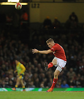 Wales' Gareth Anscombe during the game <br /> <br /> Photographer Ian Cook/CameraSport<br /> <br /> Under Armour Series Autumn Internationals - Wales v Australia - Saturday 10th November 2018 - Principality Stadium - Cardiff<br /> <br /> World Copyright © 2018 CameraSport. All rights reserved. 43 Linden Ave. Countesthorpe. Leicester. England. LE8 5PG - Tel: +44 (0) 116 277 4147 - admin@camerasport.com - www.camerasport.com
