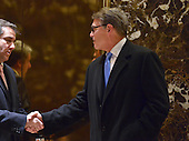 Former Governor Rick Perry (Republican of Texas)  is seen in the lobby of Trump Tower in New York, NY, USA following his meeting with United States President-elect Donald Trump on December 12, 2016.<br /> Credit: Albin Lohr-Jones / Pool via CNP