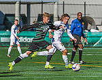 3 October 2015: Binghamton University Bearcat Midfielder Conrad Nowowiejski (22), a Freshman from Hollis Hills, NY, battles University of Vermont Catamount Forward Jaime Miralles (12), a Sophomore from Vinaros, Spain during game action at Virtue Field in Burlington, Vermont. The Bearcats held on to defeat the Catamounts 2-1 in America East conference play. Mandatory Credit: Ed Wolfstein Photo *** RAW (NEF) Image File Available ***