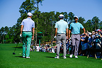 Justin Thomas (USA) Kevin Kisner (USA) Tiger Woods (USA) on the 3rd tee during Wednesdays preview at the The Masters , Augusta National, Augusta, Georgia, USA. 10/04/2019.<br /> Picture Fran Caffrey / Golffile.ie<br /> <br /> All photo usage must carry mandatory copyright credit (&copy; Golffile | Fran Caffrey)