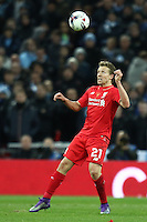 Lucas Leiva of Liverpool during the Capital One Cup match between Liverpool and Manchester City at Wembley Stadium, London, England on 28 February 2016. Photo by David Horn / PRiME Media Images.