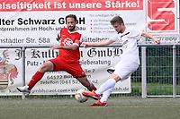 Nils Beisser (Büttelborn) zieht ab gegen Robin Frisch (Biebesheim) - Büttelborn 27.08.2017: SKV Büttelborn vs. SV Olympia Biebesheim