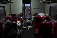 HAVANA, CUBA - APRIL 5: A cuban man sleeps on the floor of a train during their trip from Havana to Santiago de Cuba on April 5, 2018.. in Cuba. Ferrocarriles de Cuba, is one of the oldest railroad around world, having opened its first route in 1837 with at least 17-mile long. Now the railway probably could cover more than 2,600 miles along the Island. (Photo by Eliana Aponte/VIEWpress)