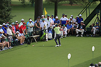 Xander Schauffele (USA) on the 18th tee during the 1st round at the The Masters , Augusta National, Augusta, Georgia, USA. 11/04/2019.<br /> Picture Fran Caffrey / Golffile.ie<br /> <br /> All photo usage must carry mandatory copyright credit (© Golffile | Fran Caffrey)