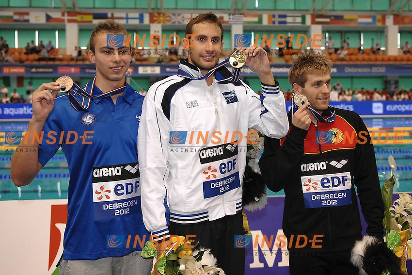 Yan Yakov Israel Bronze, Aristidis Grigoriadis Greece Gold, Helge Meeuw Germany Gold.Debrecen 22/5/2012 .31st European Swimming Championships - Nuoto.Foto Insidefoto / Andrea Staccioli