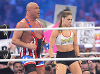 NEW ORLEANS, LA - APRIL 8: Ronda Rousey and Kurt Angle at WWE Wrestlemania 34 at the Mercedes-Benz Superdome in New Orleans, Louisiana on April 8, 2018. <br /> CAP/MPI/GN<br /> &copy;GN/MPI/Capital Pictures