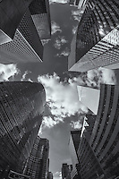 A view toward the sky and the tops of skyscrapers, including the Lipstick Building and Citigroup Center, from 54th Street and Lexington Ave in New York City