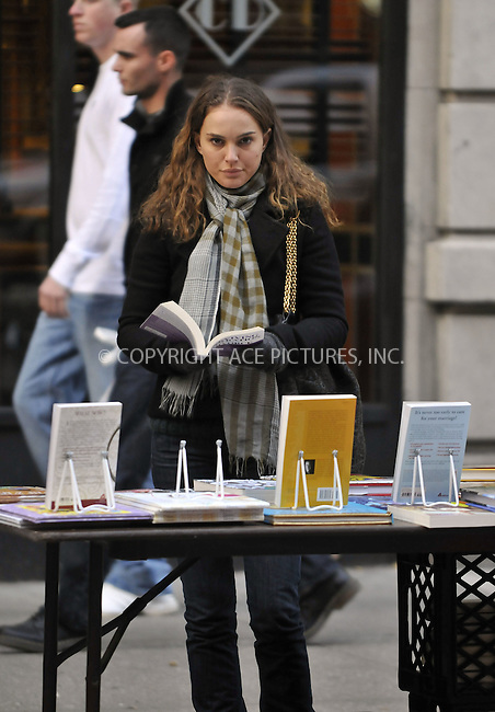 WWW.ACEPIXS.COM . . . . .  ....December 5 2008, New York City....Actress Natalie Portman shoots a scene  for the movie 'Love and other impossible pursuits' on December 5 2008 in New York City....Please byline: AJ Sokalner - ACEPIXS.COM..... *** ***..Ace Pictures, Inc:  ..tel: 212 243 8787..e-mail: info@acepixs.com..web: http://www.acepixs.com