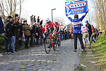 Trek-Segaferdo riders climb Oude Kwaremont during the 60th edition of the Record Bank E3 Harelbeke 2017, Flanders, Belgium. 24th March 2017.<br /> Picture: Eoin Clarke | Cyclefile<br /> <br /> <br /> All photos usage must carry mandatory copyright credit (&copy; Cyclefile | Eoin Clarke)