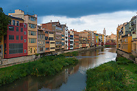 Onyar River In Girona withbright houses by sides, Spain