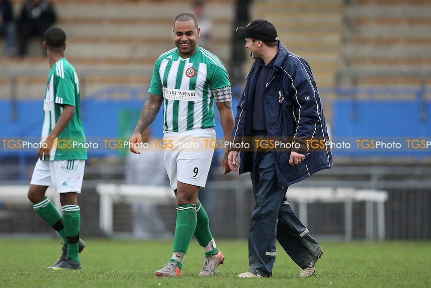Ainsley Gasper of Bethnal Green speaks to Witham manager Garry Kimble - Bethnal Green United vs Witham Town - Essex Senior League Football at the Mile End Stadium - 10/03/12 - MANDATORY CREDIT: Gavin Ellis/TGSPHOTO - Self billing applies where appropriate - 0845 094 6026 - contact@tgsphoto.co.uk - NO UNPAID USE.