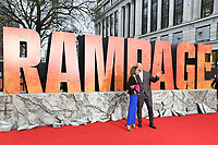 Naomie Harris &amp; Dwayne Johnson arriving for the &quot;Rampage&quot; premiere at the Cineworld Empire Leicester Square, London, UK. <br /> 11 April  2018<br /> Picture: Steve Vas/Featureflash/SilverHub 0208 004 5359 sales@silverhubmedia.com