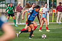 Kansas City, MO - Saturday September 9, 2017: Kathleen Naughton, Sydney Leroux Dwyer during a regular season National Women's Soccer League (NWSL) match between FC Kansas City and the Chicago Red Stars at Children's Mercy Victory Field.