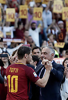 Calcio, Serie A: Roma, stadio Olimpico, 28 maggio 2017.<br /> AS Roma's Francesco Totti salutes AS Roma's president James Pallotta after the Italian Serie A football match between AS Roma and Genoa at Rome's Olympic stadium, May 28, 2017.<br /> Francesco Totti's final match with Roma after a 25-season career with his hometown club.<br /> UPDATE IMAGES PRESS/Isabella Bonotto