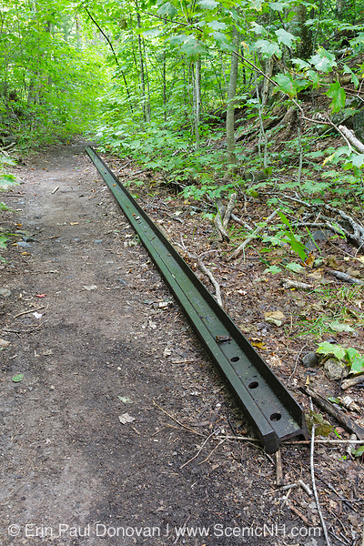 A piece of railroad track from the East Branch & Lincoln Railroad (1893-1948) along the Bondcliff Trail in the Pemigewasset Wilderness of New Hampshire. This short section of trail follows the old Black Brook siding at Camp 16.
