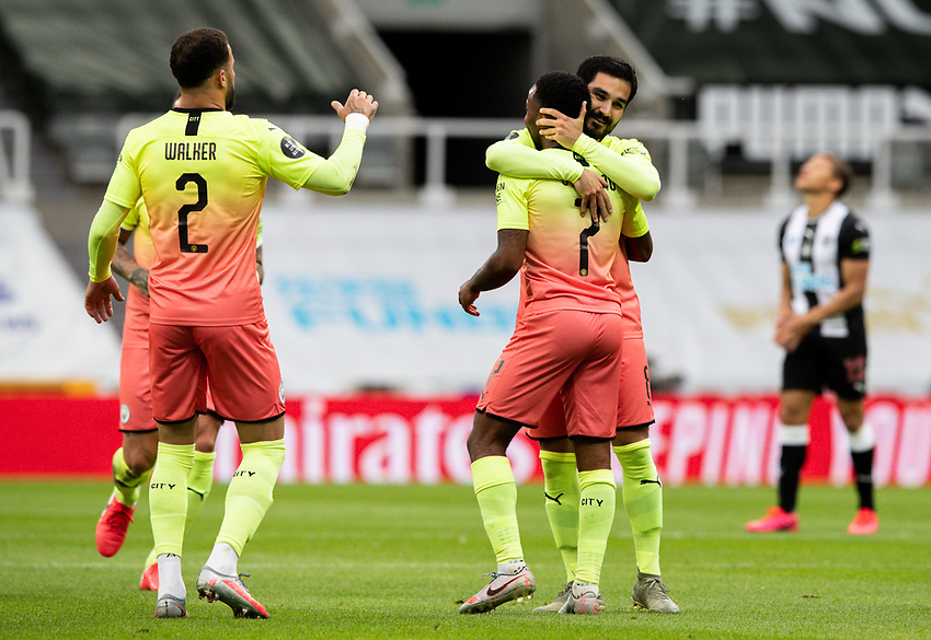 Manchester City's Raheem Sterling celebrates scoring his side's second goal with teammates<br /> <br /> Photographer Alex Dodd/CameraSport<br /> <br /> FA Cup Quarter-Final - Newcastle United v Manchester City - Sunday 28th June 2020 - St James' Park - Newcastle<br />  <br /> World Copyright © 2020 CameraSport. All rights reserved. 43 Linden Ave. Countesthorpe. Leicester. England. LE8 5PG - Tel: +44 (0) 116 277 4147 - admin@camerasport.com - www.camerasport.com