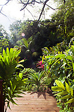 JAMAICA, Port Antonio. A garden at the Geejam Hotel.