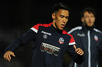 Bolton Wanderers' Adam Chicksen during the pre-match warm-up <br /> <br /> Photographer Kevin Barnes/CameraSport<br /> <br /> EFL Leasing.com Trophy - Northern Section - Group F - Rochdale v Bolton Wanderers - Tuesday 1st October 2019  - University of Bolton Stadium - Bolton<br />  <br /> World Copyright © 2018 CameraSport. All rights reserved. 43 Linden Ave. Countesthorpe. Leicester. England. LE8 5PG - Tel: +44 (0) 116 277 4147 - admin@camerasport.com - www.camerasport.com