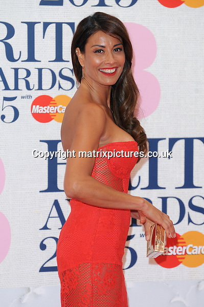 NON EXCLUSIVE PICTURE: PAUL TREADWAY / MATRIXPICTURES.CO.UK<br /> PLEASE CREDIT ALL USES<br /> <br /> WORLD RIGHTS<br /> <br /> English presenter Melanie Sykes attending the BRIT Awards 2015 at the O2 Arena, in London.<br /> <br /> FEBRUARY 25th 2015<br /> <br /> REF: PTY 15627