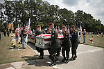August 26, 2007. Kinston, NC.. A funeral for  Spc. Steven R. Jewell was held at the Pine Lawn Memorial Park in Kinston, NC. Spc. Jewell was killed in a helicopter crash near the Iraqi city of Fallujah on August 14, 2007.. Spc. Jewell's coffin is taken to the gravesite by the honor guard.