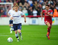 Preston North End's Daryl Horgan under pressure from Accrington Stanley's Sean McConville<br /> <br /> Photographer Kevin Barnes/CameraSport<br /> <br /> The Carabao Cup - Accrington Stanley v Preston North End - Tuesday 8th August 2017 - Crown Ground - Accrington<br />  <br /> World Copyright &copy; 2017 CameraSport. All rights reserved. 43 Linden Ave. Countesthorpe. Leicester. England. LE8 5PG - Tel: +44 (0) 116 277 4147 - admin@camerasport.com - www.camerasport.com