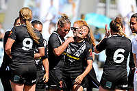 Celebrations for the Kiwi Ferns. Kiwi Ferns v England, Women's Rugby League World Cup Semi Final at Southern Cross Group Stadium, Sydney, Australia on 26 November 2017. Copyright Image: David Neilson / www.photosport.nz MANDATORY CREDIT/BYLINE : David Neilson/SWpix.com/PhotosportNZ