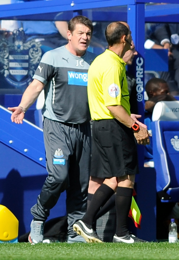Newcastle United manager John Carver remonstrates with the 4th official<br /> <br /> Photographer Ashley Western/CameraSport<br /> <br /> Football - Barclays Premiership - Queens Park Rangers v Newcastle United - Saturday 16th May 2015 - Loftus Road - London<br /> <br /> &copy; CameraSport - 43 Linden Ave. Countesthorpe. Leicester. England. LE8 5PG - Tel: +44 (0) 116 277 4147 - admin@camerasport.com - www.camerasport.com