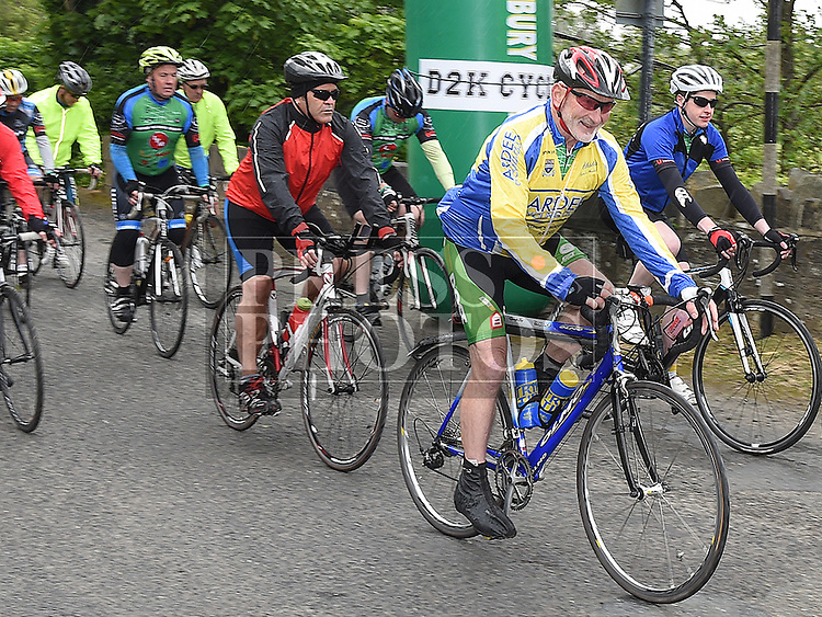 Benny Grogan leads out the cyclists at the start of the D2K cycle from Dunleer to Kilkenny and back in aid of Motor Neurone Disease. Photo:Colin Bell/pressphotos.ie