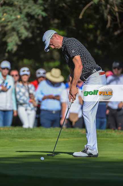 Justin Thomas (USA) watches his putt on 7 during round 1 of the World Golf Championships, Mexico, Club De Golf Chapultepec, Mexico City, Mexico. 2/21/2019.<br /> Picture: Golffile | Ken Murray<br /> <br /> <br /> All photo usage must carry mandatory copyright credit (© Golffile | Ken Murray)