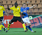 Alashkert FC v St Johnstone...02.07.15   Republican Stadium, Yerevan, Armenia....UEFA Europa League Qualifier.<br /> Scott Brown battles with Mamadou Sekou Fofana<br /> Picture by Graeme Hart.<br /> Copyright Perthshire Picture Agency<br /> Tel: 01738 623350  Mobile: 07990 594431
