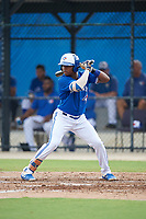 GCL Blue Jays Jhon Solarte (14) bats during a Gulf Coast League game against the GCL Tigers West on August 3, 2019 at the Englebert Complex in Dunedin, Florida.  GCL Blue Jays defeated the GCL Tigers West 4-3.  (Mike Janes/Four Seam Images)