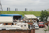 Traveller site at the planned location of the Olympic Village for the 2012 Olympic Games in Stratford, east London.