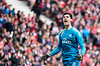 Thibaut Courtois of Real Madrid celebrating a goal during La Liga match between Atletico de Madrid and Real Madrid at Wanda Metropolitano in Madrid Spain. February 09, 2018. (ALTERPHOTOS/Borja B.Hojas)<br /> Liga Campionato Spagna 2018/2019<br /> Foto Alterphotos / Insidefoto <br /> ITALY ONLY