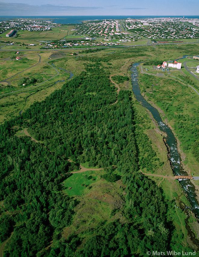 Elliðaárdalur séð til vesturs, Reykjavík /.Ellidaardalur valley and forrest viewing west towards Reykjavik.