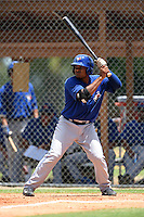 GCL Blue Jays first baseman Juan Kelly (41) at bat during a game against the GCL Tigers on June 30, 2014 at Tigertown in Lakeland, Florida.  GCL Blue Jays defeated the GCL Tigers 3-1.  (Mike Janes/Four Seam Images)