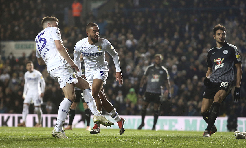 Leeds United's Stuart Dallas scores the opening goal <br /> <br /> Photographer Rich Linley/CameraSport<br /> <br /> The EFL Sky Bet Championship - Leeds United v Reading - Tuesday 27th November 2018 - Elland Road - Leeds<br /> <br /> World Copyright © 2018 CameraSport. All rights reserved. 43 Linden Ave. Countesthorpe. Leicester. England. LE8 5PG - Tel: +44 (0) 116 277 4147 - admin@camerasport.com - www.camerasport.com