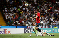 Spain's Dani Olmo, right, scores a goal as Germany's goalkeeper Alexander Nuebel tries to stop him during the Uefa Under 21 Championship 2019 football final match between Spain and Germany at Udine's Friuli stadium, Italy, June 30, 2019. Spain won 2-1.<br /> UPDATE IMAGES PRESS/Isabella Bonotto