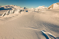 Chamberlin Snowfield with Mackay Rocks on left of upper parts of Franz Josef Glacier at sunset, Westland Tai Poutini National Park, West Coast, UNESCO World Heritage Area, New Zealand, NZ