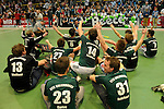 GER - Luebeck, Germany, February 07: Players of HTC Uhlenhorst Muehlheim celebrate after winning the Deutsche Meisterschaft before the prize giving ceremony at the Final 4 on February 7, 2016 at Hansehalle Luebeck in Luebeck, Germany. (Photo by Dirk Markgraf / www.265-images.com) *** Local caption ***